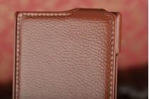 Фирменный вертикальный откидной чехол-флип для Nokia Lumia 920 коричневый кожаный