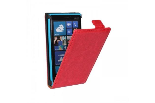 Фирменный вертикальный откидной чехол-флип для Nokia Lumia 920 красный кожаный