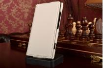 Фирменный вертикальный откидной чехол-флип для Nokia Lumia 920 белый кожаный