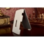 Фирменный вертикальный откидной чехол-флип для Nokia Lumia 920 белый кожаный..