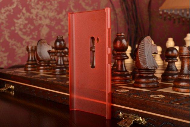 Фирменная задняя панель-крышка-накладка из тончайшего и прочного пластика для Nokia Lumia 920 красная полупрозрачная