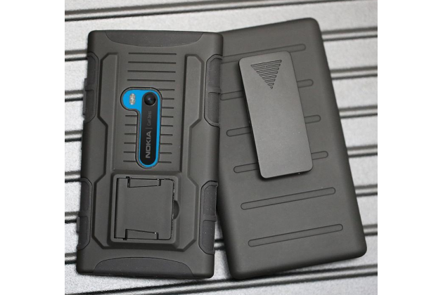 Противоударный усиленный ударопрочный фирменный чехол-бампер-пенал для Nokia Lumia 920 черный
