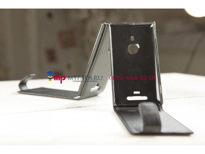 Фирменный вертикальный откидной чехол-флип для Nokia Lumia 925 черный кожаный..