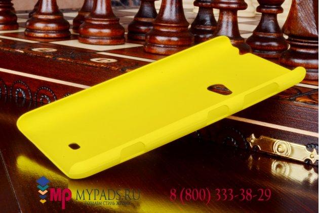 Фирменная задняя панель-крышка-накладка из тончайшего и прочного пластика для Nokia Lumia 625 желтая