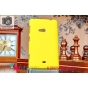 Фирменная задняя панель-крышка-накладка из тончайшего и прочного пластика для Nokia Lumia 625 желтая..