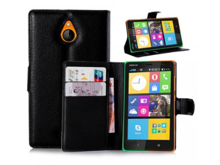 Фирменный чехол-книжка из качественной импортной кожи для Nokia X2 Dual sim черный..