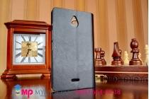 Фирменный чехол-книжка из качественной импортной кожи для Nokia X2 Dual sim черный