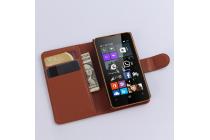 Фирменный чехол-книжка из качественной импортной кожи с мульти-подставкой застёжкой и визитницей для Майкрософт Люмия 430 коричневый