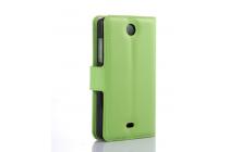 Фирменный чехол-книжка из качественной импортной кожи с мульти-подставкой застёжкой и визитницей для Майкрософт Люмия 430 зеленый