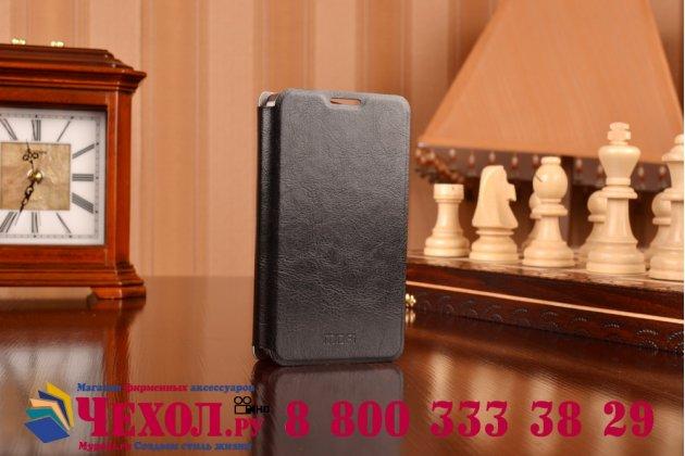 Фирменный чехол-книжка из качественной водоотталкивающей импортной кожи на жёсткой металлической основе для Microsoft Lumia 430 черный