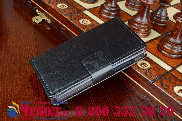 Фирменный чехол-книжка из качественной импортной кожи с мульти-подставкой застёжкой и визитницей для Майкрософт Микрософт Нокия Люмия 430 черный