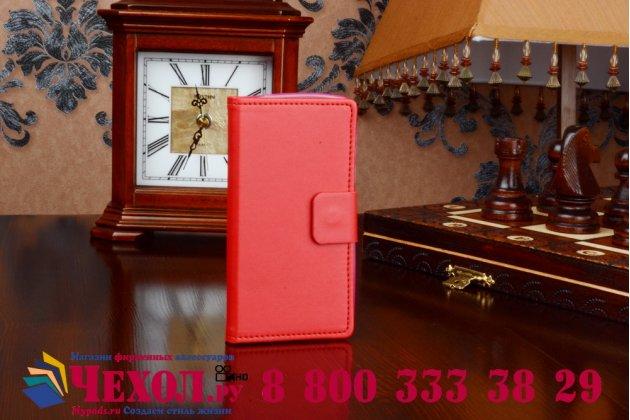 Фирменный чехол-книжка из качественной импортной кожи с подставкой застёжкой и визитницей для Microsoft Nokia Lumia 430 красный