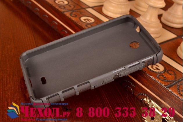 Противоударный усиленный ударопрочный фирменный чехол-бампер-пенал для Microsoft Lumia 430 черный
