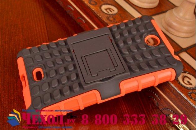 Противоударный усиленный ударопрочный фирменный чехол-бампер-пенал для Microsoft Lumia 430  оранжевый