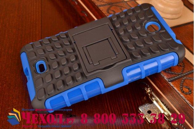 Противоударный усиленный ударопрочный фирменный чехол-бампер-пенал для Microsoft Lumia 430 синий