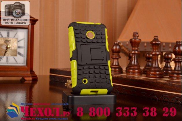 Противоударный усиленный ударопрочный фирменный чехол-бампер-пенал для Nokia Lumia 530 зелёный