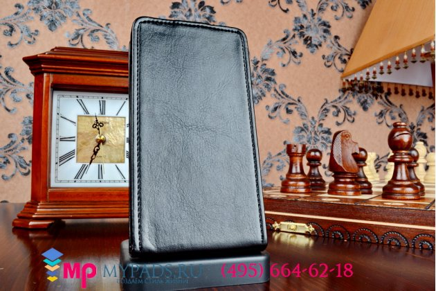 """Фирменный оригинальный вертикальный откидной чехол-флип для Nokia Lumia 630/635/636 dual sim черный из импортной кожи """"Prestige"""" Италия"""