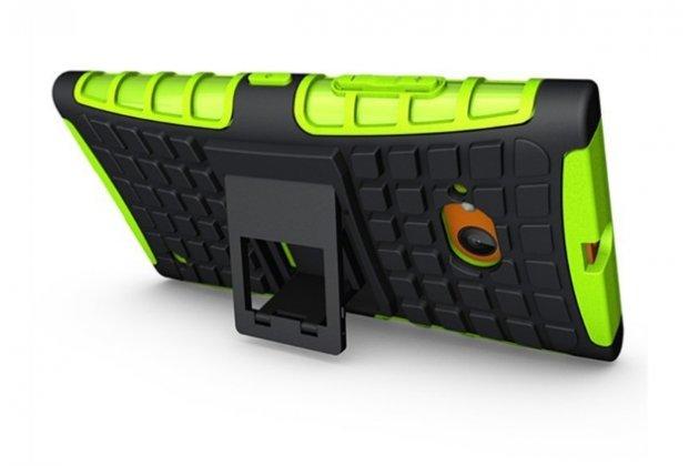 Противоударный усиленный ударопрочный фирменный чехол-бампер-пенал для Nokia Lumia 730 Dual sim зелёный