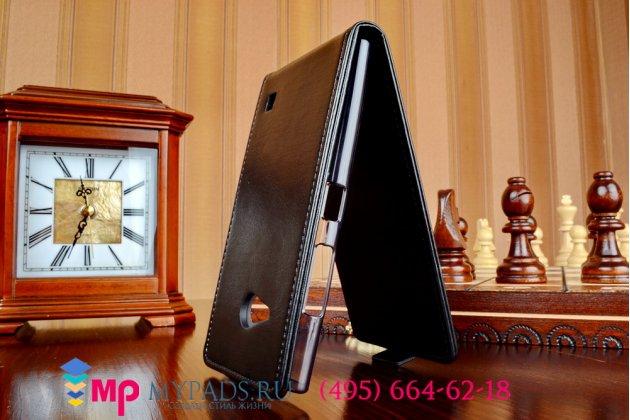 """Фирменный оригинальный вертикальный откидной чехол-флип для Nokia Lumia 730 Dual sim черный из импортной кожи """"Prestige"""" Италия"""
