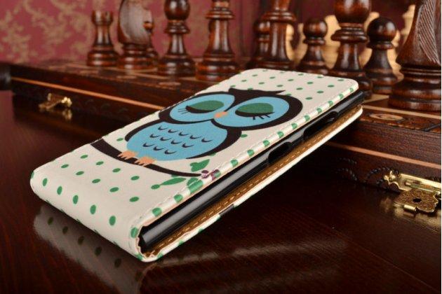 """Фирменный вертикальный откидной чехол-флип для Nokia Lumia 730 Dual sim """"тематика Сова"""""""