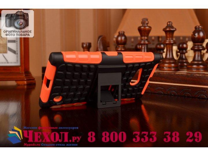 Противоударный усиленный ударопрочный фирменный чехол-бампер-пенал для Nokia Lumia 735 оранжевый..