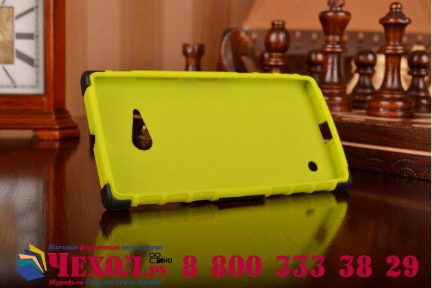 Противоударный усиленный ударопрочный фирменный чехол-бампер-пенал для Nokia Lumia 735 зеленый