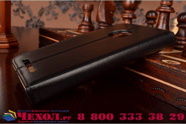 Фирменный чехол-книжка из качественной импортной кожи с мульти-подставкой застёжкой и визитницей для Нокиа Люмия 830 черный
