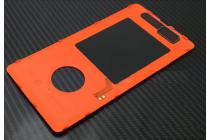 Фирменная родная оригинальная задняя крышка с функцией беспроводной зарядки и логотипом для Nokia Lumia 830 оранжевая