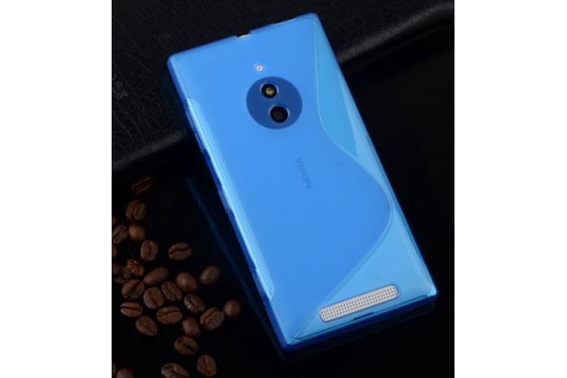 Фирменная ультра-тонкая полимерная из мягкого качественного силикона задняя панель-чехол-накладка для Nokia Lumia 830  голубая