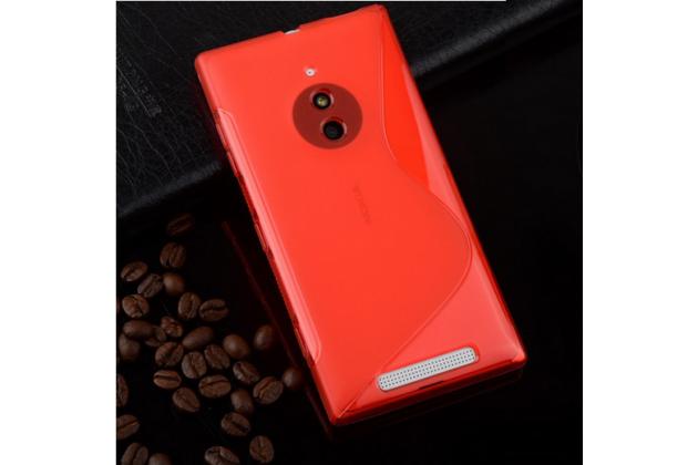 Фирменная ультра-тонкая полимерная из мягкого качественного силикона задняя панель-чехол-накладка для Nokia Lumia 830 красная
