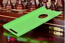Фирменная задняя панель-крышка-накладка из тончайшего и прочного пластика для Nokia Lumia 830 зеленая