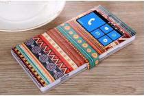 Фирменный чехол-книжка с безумно красивым расписным эклектичным узором на Nokia Lumia 830  с окошком для звонков