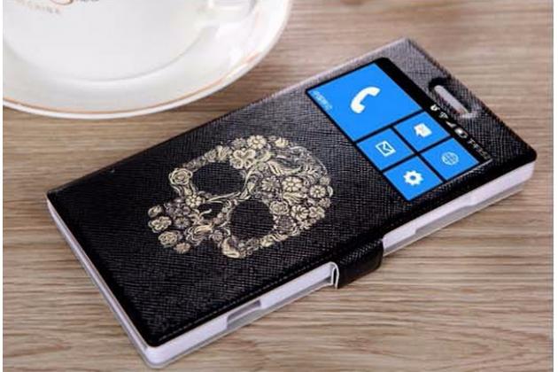 Фирменный чехол-книжка с безумно красивым расписным рисунком черепа на Nokia Lumia 830  с окошком для звонков