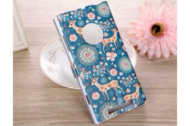 Фирменный чехол-книжка с безумно красивым расписным рисунком Оленя в цветах на Nokia Lumia 830 с окошком для звонков