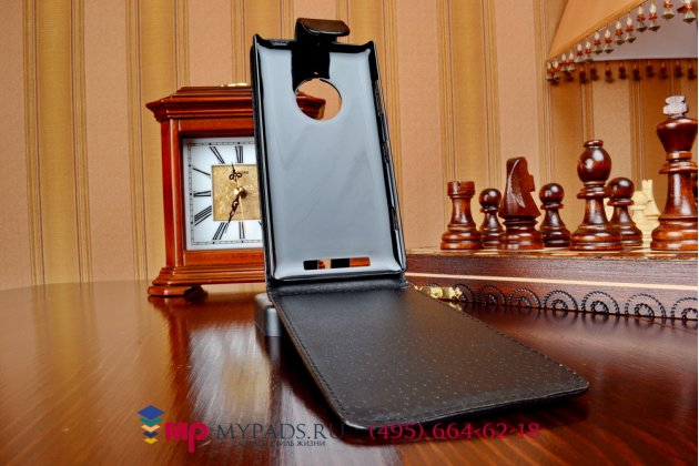 Фирменный оригинальный вертикальный откидной чехол-флип для Нокия Люмия 830 (A00021604) черный кожаный