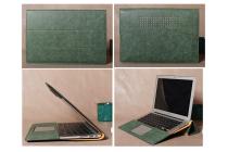 Фирменный чехол-обложка для Xiaomi Mi Notebook Air 12.5 зеленый из импортной кожи