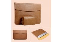 Фирменный оригинальный чехол-клатч +сумка под блок питания для Xiaomi Mi Notebook Air 12.5 из качественной импортной кожи коричневого цвета