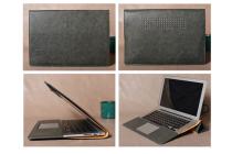 Фирменный чехол-обложка для Xiaomi Mi Notebook Air 12.5 серого цвета из импортной кожаный