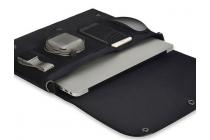 Фирменный оригинальный чехол-клатч-сумка с визитницей для Xiaomi Mi Notebook Air 12.5 из качественной импортной кожи черного цвета