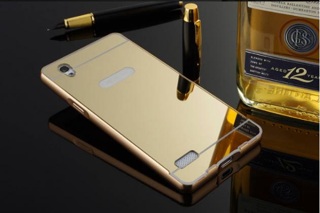 """Фирменная металлическая задняя панель-крышка-накладка из тончайшего облегченного авиационного алюминия для OPPO Mirror 5s"""" золотая"""