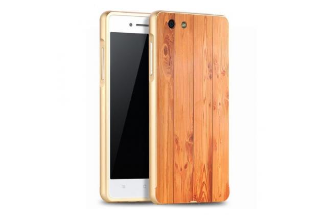 """Фирменная оригинальная деревянная бамбуковая задняя панель-крышка-накладка для OPPO R1L"""""""