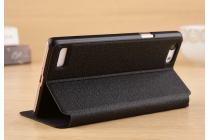"""Фирменный чехол-книжка для Oppo A33"""" черный с окошком для входящих вызовов и свайпом водоотталкивающий"""