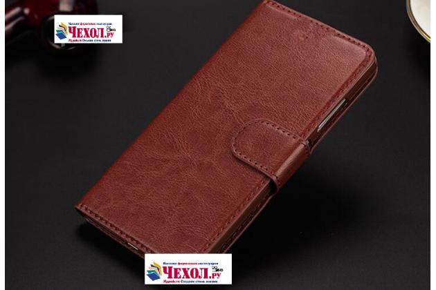 """Фирменный чехол-книжка из качественной импортной кожи с подставкой застёжкой и визитницей для ОППО А33"""" коричневый"""