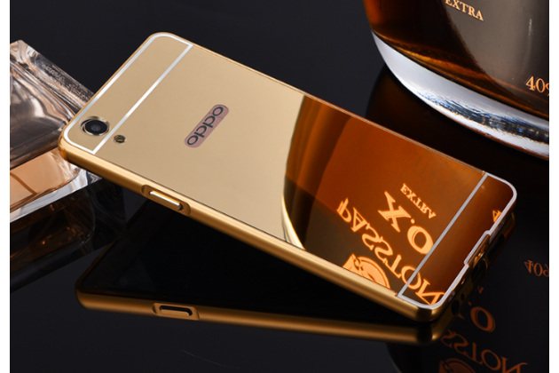 """Фирменная металлическая задняя панель-крышка-накладка из тончайшего облегченного авиационного алюминия для Oppo A37"""" золотая"""