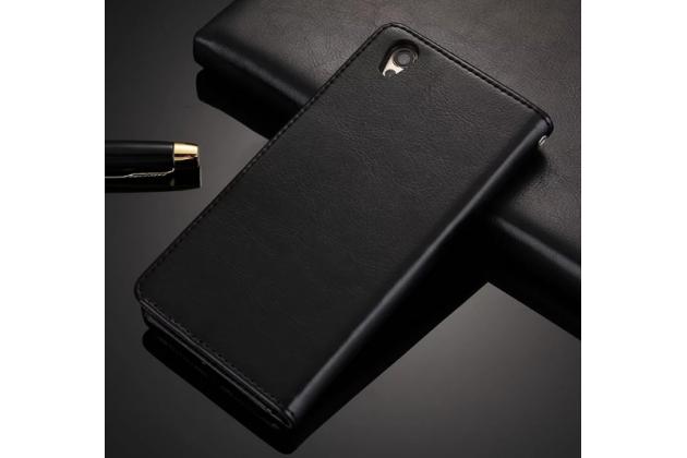 """Фирменный чехол-книжка из качественной импортной кожи с подставкой застёжкой и визитницей для ОППО А37"""" черный"""