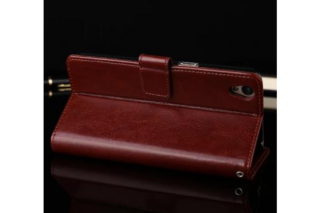 """Фирменный чехол-книжка из качественной импортной кожи с подставкой застёжкой и визитницей для ОППО А37"""" коричневый"""