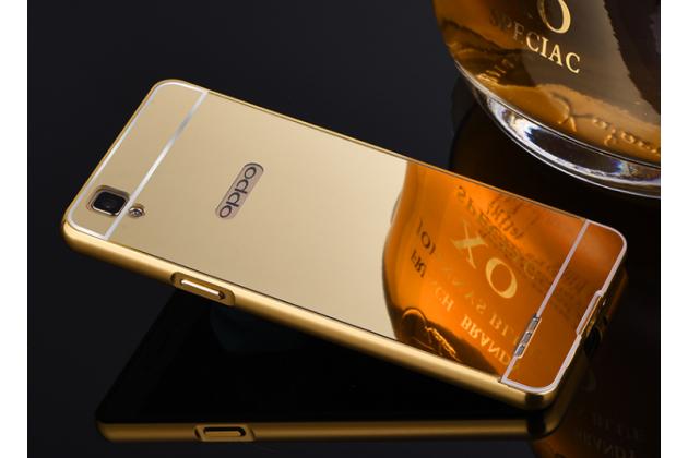 """Фирменная металлическая задняя панель-крышка-накладка из тончайшего облегченного авиационного алюминия для Oppo A53"""" золотая"""