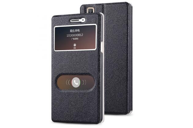 """Фирменный чехол-книжка для Oppo A53"""" черный с окошком для входящих вызовов и свайпом водоотталкивающий"""
