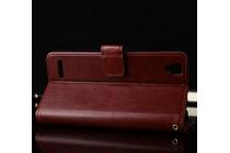 """Фирменный чехол-книжка из качественной импортной кожи с подставкой застёжкой и визитницей для ОППО А53"""" коричневый"""