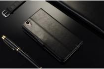 """Фирменный чехол-книжка из качественной импортной кожи с подставкой застёжкой и визитницей для Оппо Р7с"""" черый"""